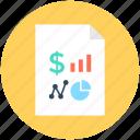 bar chart, business report, dollar, magnifier, pie chart