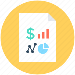 bar chart, business report, dollar, magnifier, pie chart icon