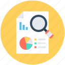 data page, pie chart, report, report analysis, search report icon