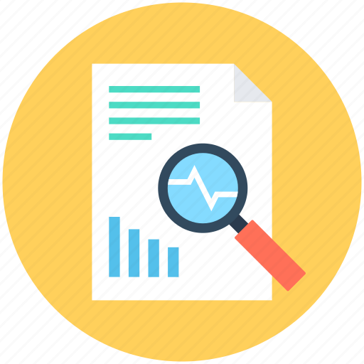 analytics, infographic, magnifier, search graph, search report icon