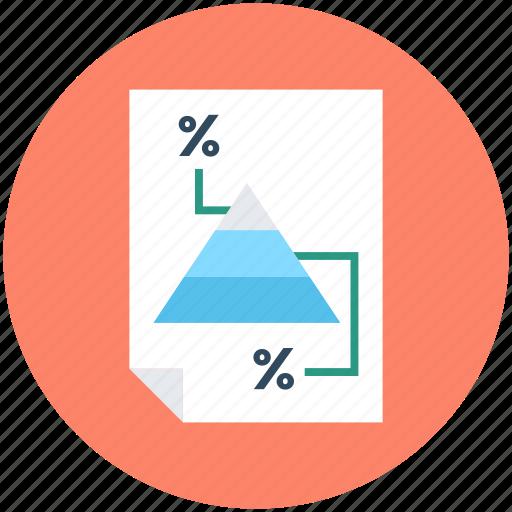 document, percentage, pyramid, tax report, tax return icon
