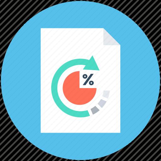 document, percentage, refresh, tax report, tax return icon