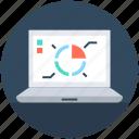 business graph, laptop, pie chart, seo graph, statistics