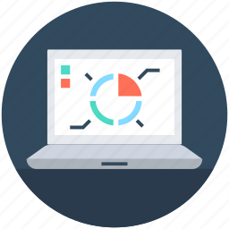 business graph, laptop, pie chart, seo graph, statistics icon