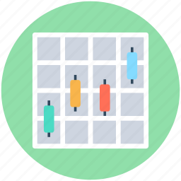 box plot graph, candlestick chart, graph, pictographs, plot graph icon