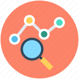 infographic, line graph, magnifier, magnifying lens, search graph icon