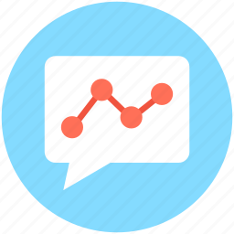 bubble graph, chat graph, line chart, line graph, talk icon