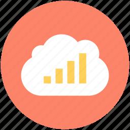 analytics, bar chart, bar graph, cloud computing, cloud graph icon
