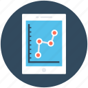 bar graph, line chart, line graph, mobile graph, online graph icon