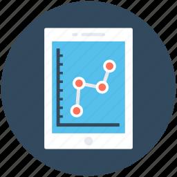 bar graph, line chart, line graph, mobile graph, online graph icon