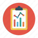 clipboard, document, graph, report, sheet