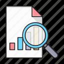file, graph, magnifier, report, search