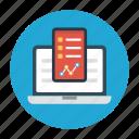 analytic, laptop, online, report, sheet