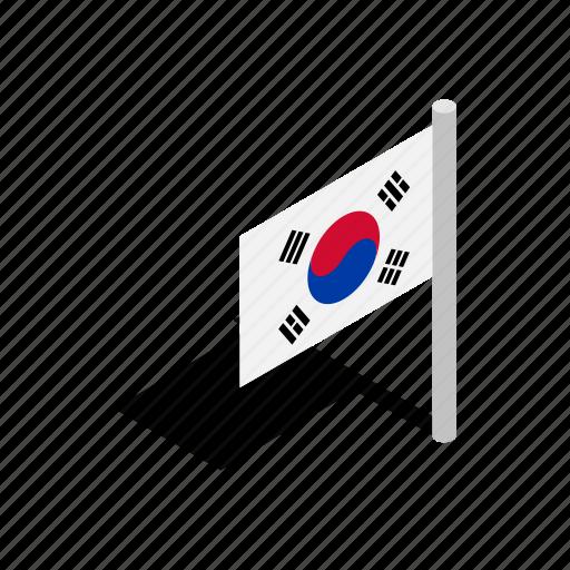 element, flag, isometric, korea, nation, national, south icon
