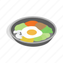 asian, bibimbap, dish, food, isometric, korean, meal icon