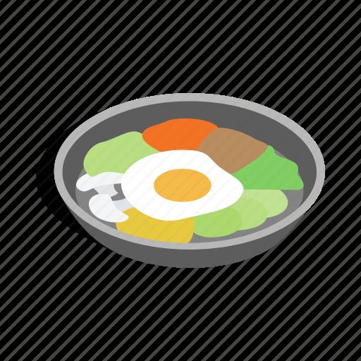 asian, bibimbap, dish, food, isometric, korean, meal icon