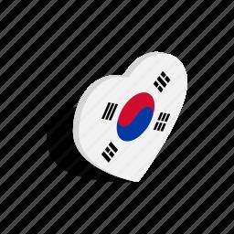 country, flag, heart, isometric, korea, love, south icon