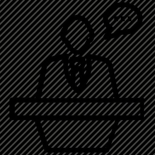orator, presenter, speaker, spokesman, spokesperson icon