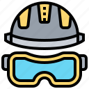 construction, goggles, helmet, protection, safety icon