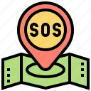 help, location, map, pinpoint, sos