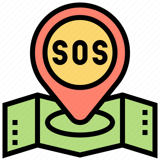 help, location, map, pinpoint, sos icon