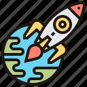 development, global, rocket, space, technology icon