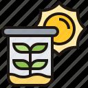beaker, ecology, environment, plant, sun icon