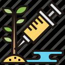 genome, gmo, modify, plant, syringe icon