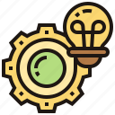 bulb, cogwheel, creative, innovation, novelty icon