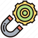 cogwheel, horseshoe, magnet, metal, physics icon