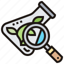 experiment, flask, magnifying, plant, research icon