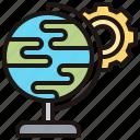 cogwheel, globe, model, simulated, world icon