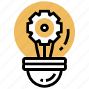 bulb, cogwheel, creativity, idea, innovation icon