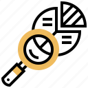 chart, examine, lens, magnifying, research icon