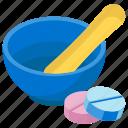 medicine bowl, pestle mortar, pharmacist, pharmacology, pharmacy tool icon