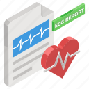 cardiogram, cardiology report, diagnosis, document, ecg report, healthcare report, medical report icon