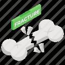 bone cracked, bone fracture, bone injury, broken bone, injured, orthopedics icon