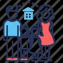 children, family, house, parents icon