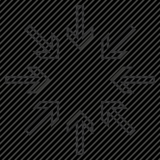 combine, compact, compress arrows, compression, minimize, pressure, reduce icon