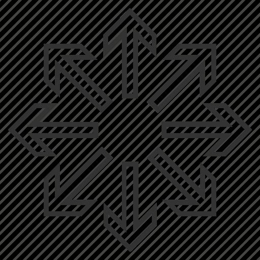 arrows, enlarge, expand, explode, explosion, maximize, resize icon