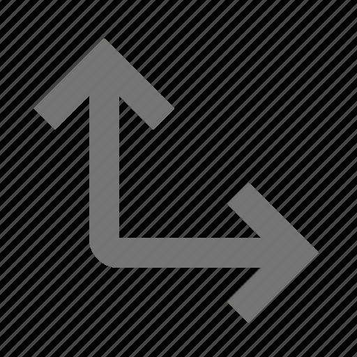 arrow, corner, expand icon