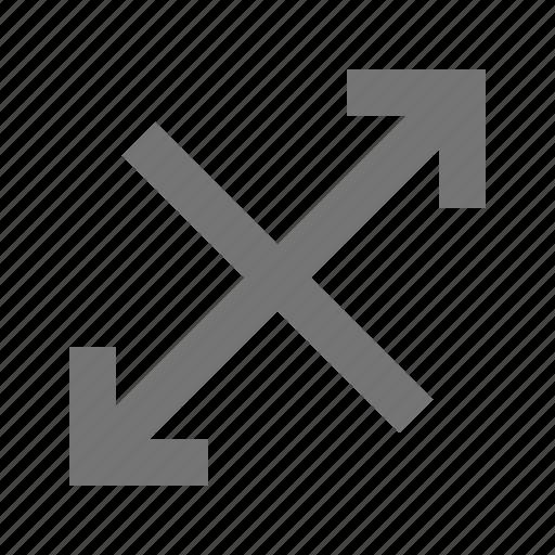 arrows, diagonal, expand icon