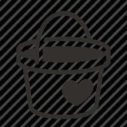 bucket, charity, love icon