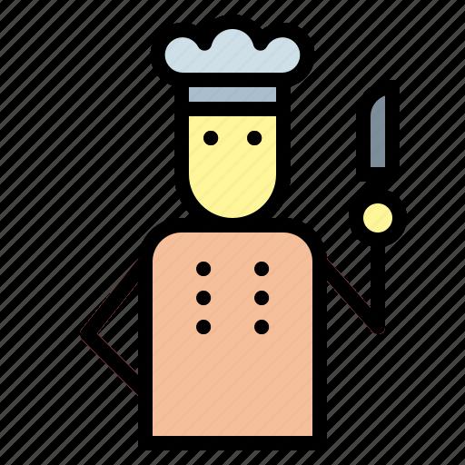 and, chef, food, job, profession, restaurant, user icon
