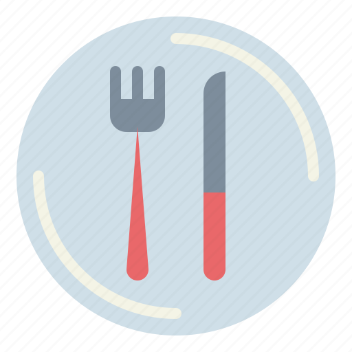 Cutlery, dish, fork, knife, plate, restaurant icon - Download on Iconfinder