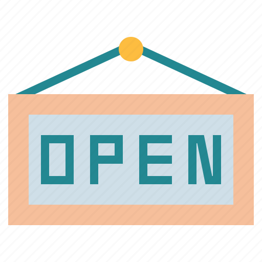 and, food, open, restaurant, shop, sign icon