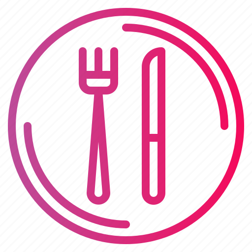 cutlery, dish, fork, knife, plate, restaurant icon