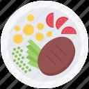 beefsteak, food, meat, plate, potato, restaurant, tomato icon