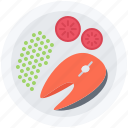fish, food, peas, potato, restaurant, tomato icon