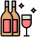 alcohol, alcoholic, bottle, drink, drinks, glass, wine icon